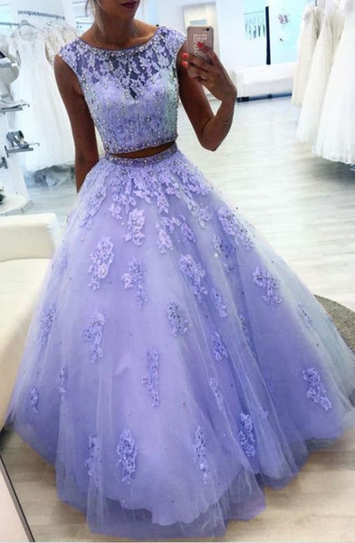 Gorgeous Custom Made Sexy Lavender Tulle Lace Prom Dress Two Pieces Long Prom Gowns   cg13273