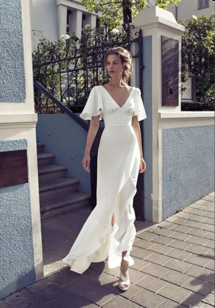 white party dress half sleeve evening dress v neck prom dress cg1329