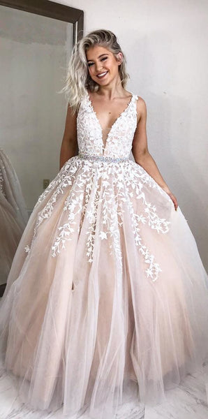 A-line Long Prom Dresses with White Lace Appliques cg132