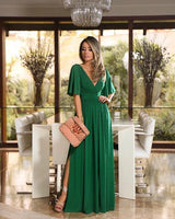 2019 green long prom dress with slit  cg1330