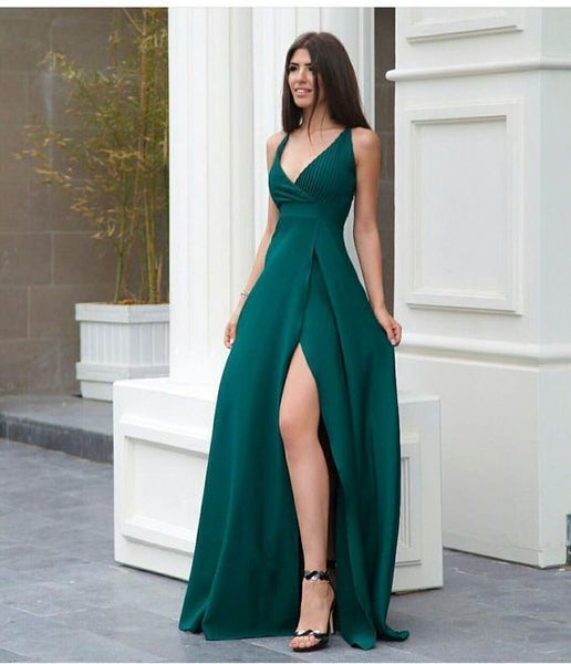 A line green prom dress with side slit  cg1332