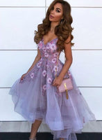 Purple v neck tulle appliqué short homecoming dress, homecoming dress cg1333