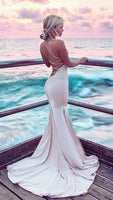 Mermaid Spaghetti Straps Sweep Train Blush Prom Dress with Appliques cg1339