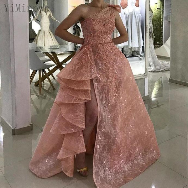 Pink Lace Prom Dresses One Shoulder Side Split A Line Ruffles Bow Appliques Beads Long Formal Women Evening Gowns   cg13408