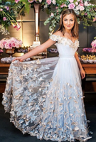Light Blue Tulle Off The Shoulder prom Evening Gowns  cg1341