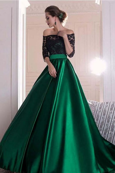 A Line Dark Green Satin Off the Shoulder 3/4 Sleeves Ruffles Lace Prom Dresses  cg1344