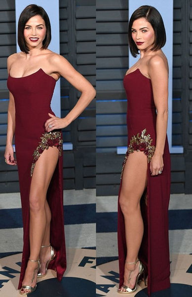 Strapless Burgundy Prom Dress with Embroidery Split Long Evening Dress cg1348