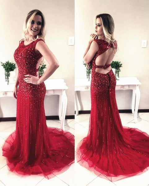 Burgundy Prom Dress,crystal Evening Dress,mermaid Prom Dress,open Back Prom Dress,luxury Evening Gowns   cg13492