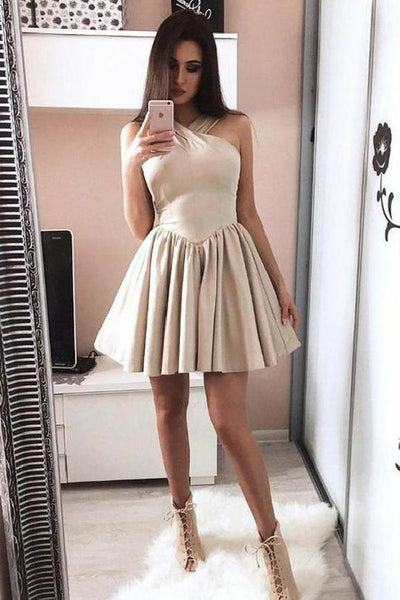 Cheap Simple Halter Low-waistline Cheap Mini Length Homecoming Dresses cg134