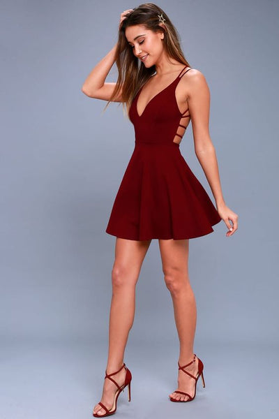 A line burgundy homecoming dress cg1351