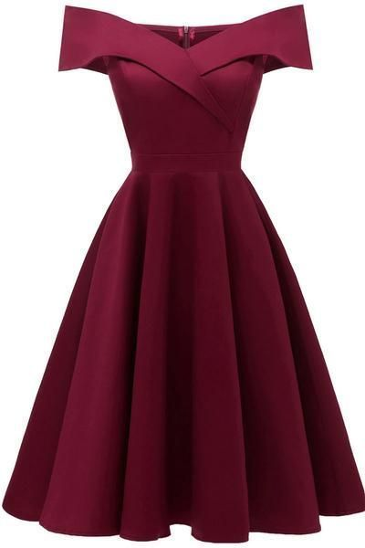 Burgundy Off-the-shoulder Satin A-line Prom Dress  cg1358