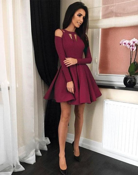 Simple burgundy short  dress, short homecoming dress cg135
