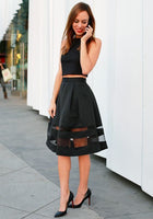 black two pieces short knee length o neck homecoming dress,formal party dress  cg1366