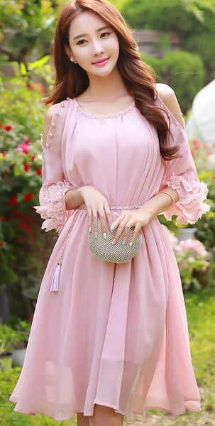 Pink Dress,Middle Sleeve Dress,Fashion Homecoming Dress cg1368