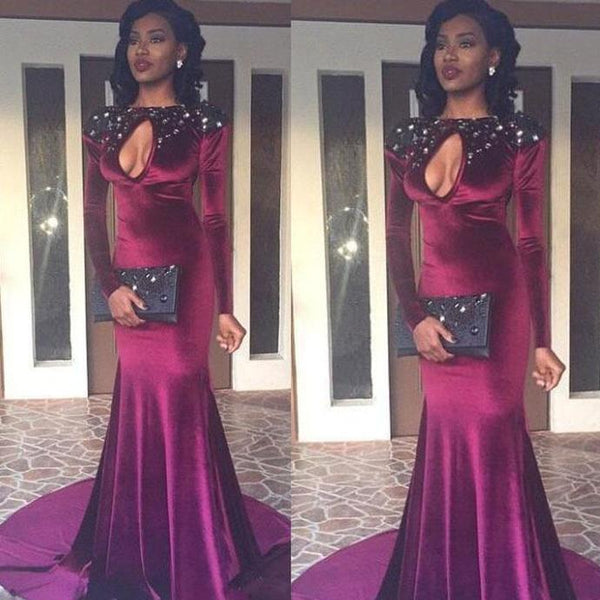 burgundy prom dresses 2020 keyhole crystal long sleeve mermaid court train velvet evening dresses   cg13696