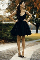 Ball Gown Square Neck Satin Little Black homecoming Dress cg1369