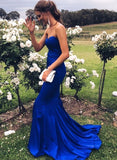 Simple blue satin long prom dress, mermaid evening dress cg1371