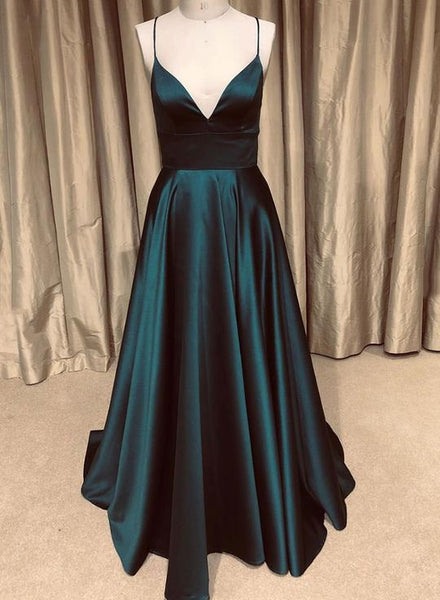 Simple v neck satin long prom dress, evening dress cg1376