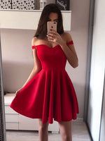 Simple off the shoulder homecoming dresses cg137