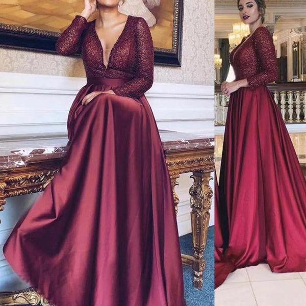 burgundy prom dresses 2020 deep v neck sequins satin red long sleeve evening dresses   cg13803