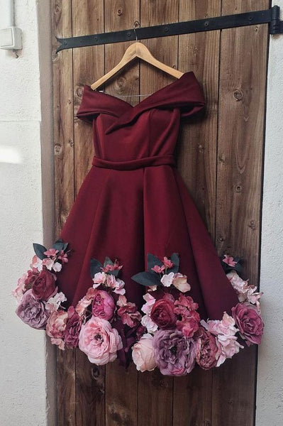 Burgundy tulle applique short dress, burgundy homecoming dress cg1380