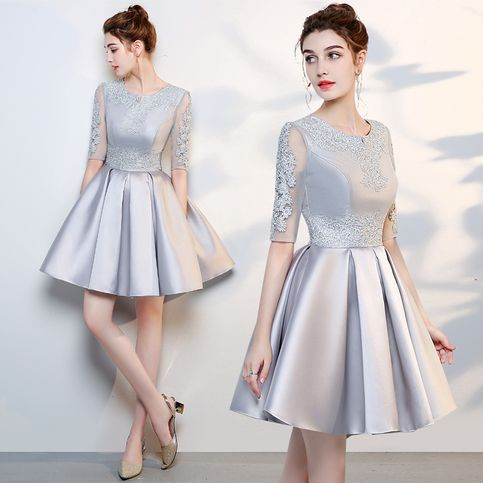 Cute A line lace short dress, homecoming dress cg1383