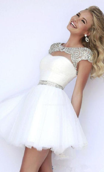 Luxurious Cute Homecoming Dresses Beading Cap Sleeves Homecoming Dress,Cute Dress cg1390