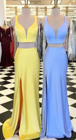 Custom Made Comely Prom Dresses Blue Two Piece Yellow/Blue Mermaid Long Prom Dress With Side Slit cg1392