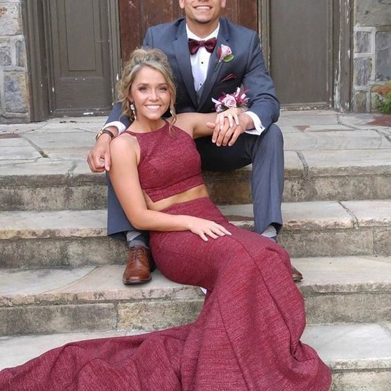 2019 Two Piece Burgundy Prom Dress Cheap Long dress cg1394