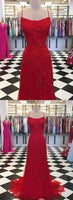 Red lace long prom dress, mermaid evening dress cg1396