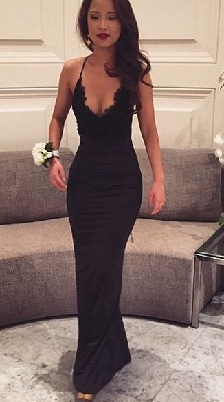 Sexy Black Lace Prom Dress, Sexy Evening Gown, Mermaid Prom Dresses  cg1397