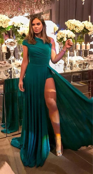 Sheath One Shoulder Sleeveless Side Slit Green Long Prom Dress cg1398