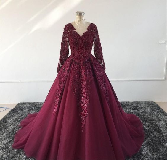 Burgundy Prom Dress With Train , Lace Prom Dress   cg14067