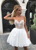 White sweetheart lace short dress, white homecoming dress cg140