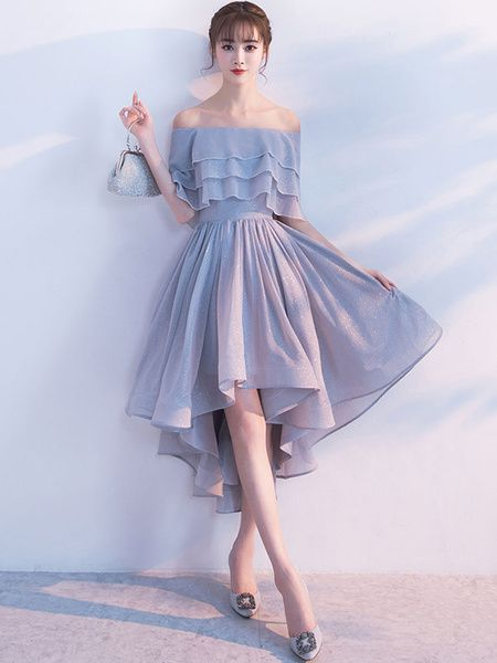 Short Homecoming Dress Off The Shoulder Half Sleeve Ruffles Cocktail Dresses Light Grey A Line High Low Party Dresses cg1413