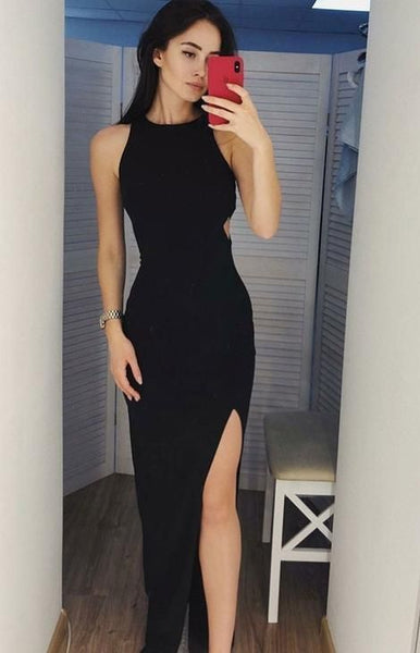 Black Prom Dress Slit Skirt, Evening Dress, Dance Dresses, Graduation School Party Gown cg1418