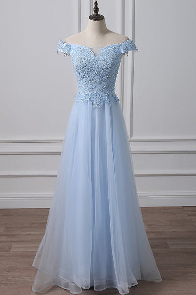 BLUE TULLE LACE OFF SHOULDER LONG PROM DRESS, BLUE EVENING DRESS cg1421