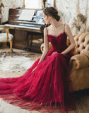Burgundy tulle long prom dress, burgundy tulle evening dress cg1426