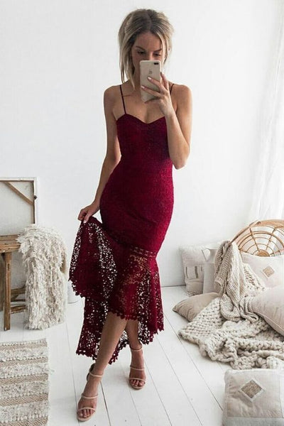 Sheath Spaghetti Straps Tea-Length Burgundy Lace Prom Dress    cg14298