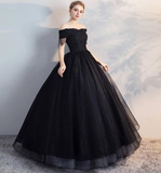 Black Off Shoulder Lace Applique Wedding Dresses,A Line Bridal Dresses cg1430
