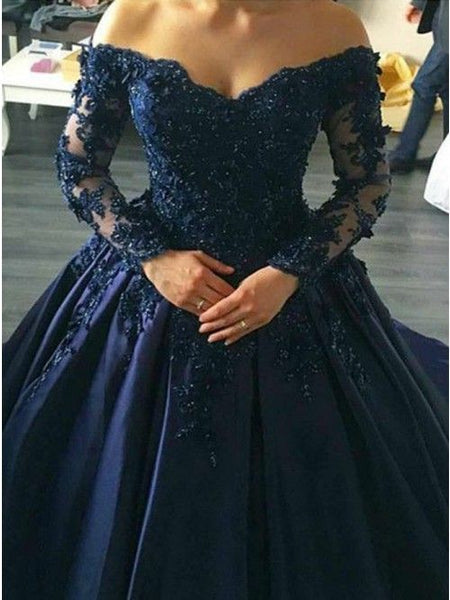 Navy Blue Lace Appliques Long Sleeves Ball Gowns Wedding Dresses Off Shoulder  cg1431