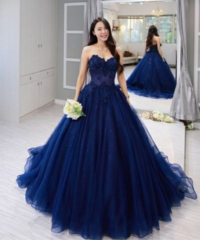 Navy Blue Tulle Sweetheart Long Lace Applique Formal Prom Dress cg1432