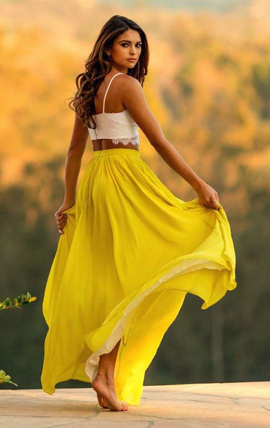 2 Piece Yellow Chiffon Sweetheart Lace Prom Dresses Long Evening Dresses   cg14357