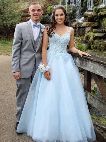 Spaghetti Straps V Neck Light Blue Lace Prom Dresses   cg14389