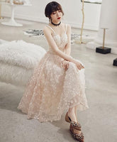 Champagne tulle prom dress, unique formal dress cg1438