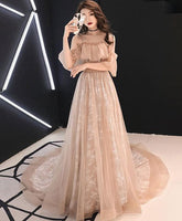 Pink tulle long prom dress, pink tulle evening dress  cg1439