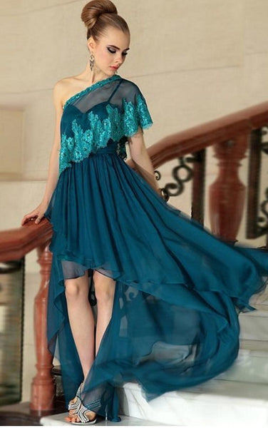 One Shoulder Evening Dresses, Lace Prom Dresses, Ruffle Party Dresses, High Front and Low Back Evening Dress   cg14405
