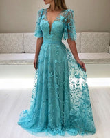 modest prom dress,lace prom dress,long formal gown,sleeved prom dresses    cg14415