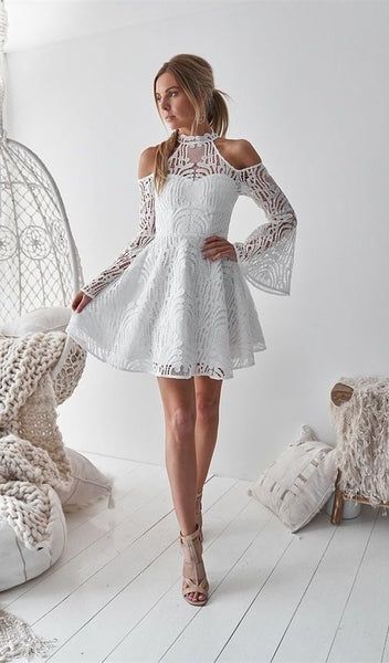 A-Line High Neck Bell Sleeves Cold Shoulder Above-Knee White Homecoming Dress cg1443