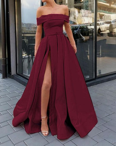 Elelgant Off the Shoulder Split Leg Long Burgundy Prom Dress Formal Gradute Gown   cg14494